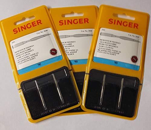 Cantante con vainica/ala Agujas para máquina de coser, pack de dos, tamaño 90/14-comprar 2, Get 3rd paquete libre., 3 Packets of Two for the Price of 2