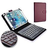 """Funda con teclado para 7 - 8"""" inch tabletas - COOPER BACKLIGHT EXECUTIVE Carcasa tipo carpeta de viaje 2 en 1 de cuero con teclado Bluetooth inalámbrico con retroiluminación LED, 7 colores (Morado)"""