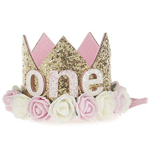 JMITHA Bébé Fête d'anniversaire Bandeaux de couronne bandeau de cheveux bébé fille avec fleur Photographie Belles Fleur Cheveux Accessoires Couronne Bande de cheveux (01)
