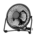 EasyAcc Mini USB 4 Inch Fan Desktop Silent Fan Perfect for Laptop Notebook PC Desk Table Fan - Metal Black