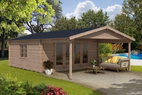 Alpholz Gartenhaus NILS-44 - Blockhaus mit 4-tlg. Falttür - Massivholz Gartenhütte mit Fenster & Isolierverglasung - Garten Blockhütte Nussbaum