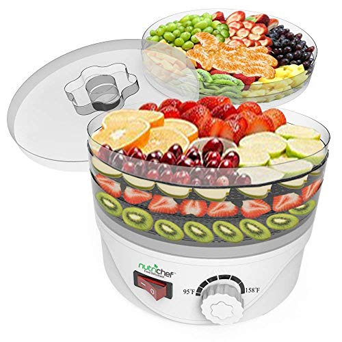 Jukkre 220-240V Transparent 5 Tray Food Dehydrator Electric Dried Fruit Machine Fruits Vegetable Dryer Beef Snack Jerky White Fruit Dehydrator (34 x 33 x 26,Transparent)