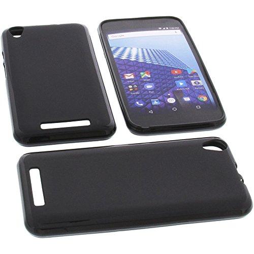 foto-kontor Tasche für Archos Access 55 3G Gummi TPU Schutz Handytasche schwarz