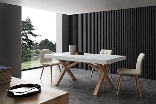Tavolo Soggiorno Cucina Allungabile.Tavolo Allungabile In Legno Massello Design Soggiorno Cucina Vetro