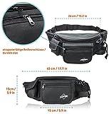 Bauchtasche / Gürteltasche / Hüfttasche für Herren schwarz, groß mit 7 Fächern von Globeproof® - 3