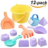Scheppend Giocattoli da spiaggia Summer Outdoors Sand Play Toys Set Sand Castle Secchio Seaside Toys Playset Playing Garden Tools for Kids and Children 12pcs