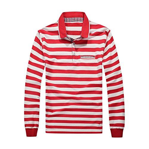 semen Herren Polo Shirt Langarmshirt gestreift shirts Sport Freizeit Baumwolle Regular Fit Rundhal Jersey Top im Rugby-Style Pullover Basic (Gestreiftes Rugby-shirt)