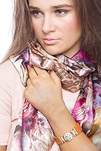 Womens top lightweight Infinity floral wrap Faux silk Spring Shawl New Summer Style Double Face Floral And Leopard Print Silky Scarf