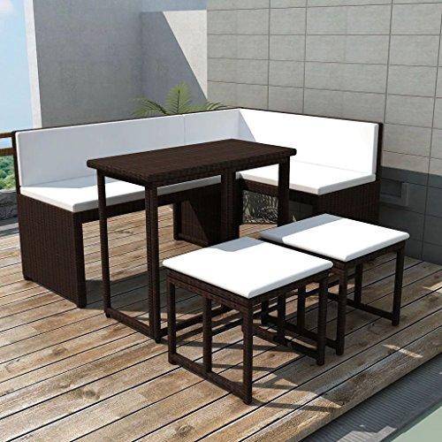 WEILANDEAL Gartensofa Set Ratan Kunstleder Braun 12-Teilig Set aus Edelstahl Abmessungen des Ecksofas 100 x 50 x 71 cm (Breite x Tiefe x Höhe)