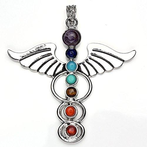 JOVIVI 7 Chakra Stone Pendant Crystal Reiki Healing Balancing - Angle Wings Style