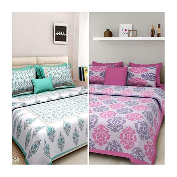 BedZone 100% Cotton Rajasthani Jaipuri King Size bedsheets Combo Double Bed Set 2 Double Bedsheet with 4 Pillow Cover - Multicolor