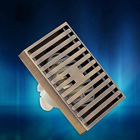 KHSKX Mode kann verschoben werden ultra-dünne Doppel Bodenablauf, High-End-Antik gebürstet Bronze Deodorant Ablaufrohr 40