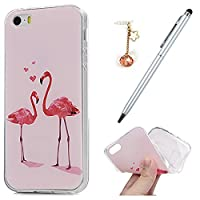 iPhone SE Case iPhone 5S Case iPhone 5 Case,Badalink Flexible Soft Gel TPU Protective Cover Enhanced Grip Silicone Case Drop Protection Shock Absorption Transparent Shell for iPhone SE iPhone 5 iPhone 5S,Diamond Flamingo