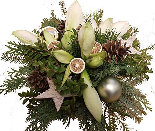 BLUMENSTRAUß Weihnachten   Tanne   AMARYLLIS weiß   DEKO weiß   vom Meister  