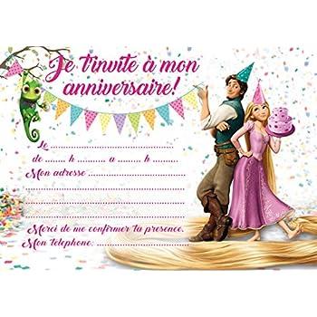 10 Cartes Invitation Anniversaire Raiponce Rapunzel Avec Des Enveloppes Roses