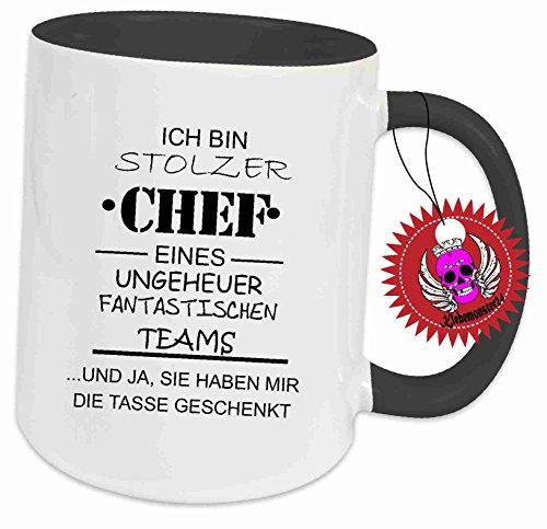 Klebemonster24 Spruchtasse Funtasse Schwarz voll mit Aufdruck Spruch Ich Bin Stolzer Chef eines...