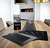 Homeshape Tischset 6er Set Inklusive Tischläufer und Platzsets abwischbar hitzebeständig und Rutschfest Esstisch-Deko in Farbe Schwarz - 9