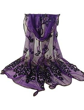 Siswong Pañuelos Bordada Estampados Pavo Real Señora Colores Elegantes Bufandas Finas Estolas Cómodos Fiesta Bodas...