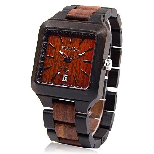 BEWELL Herren Natürliche Hölzerne Uhr Männer Noble Quartz Analog Armbanduhr mit Quadratisches Zifferblatt Herrenuhr Hölzerne Armband (Hölzerne Männer Armbänder)