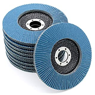 Pack of 10 x Flap Discs, 115 mm, Grit 80, Abrasive Flap Discs, INOX Sanding Mop Disc