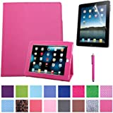 HDE Folding Leather Folio Case Cover Stand for Apple iPad 1st Generation w/ Screen Protector & Matching Stylus (Hot Pink)