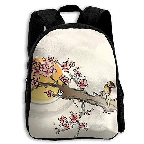 HOJJP Mochila escolar School Season Kids Backpack Travel Gear Daypack,Child Cherry Tree Painting Shoulder Bag (Harley Quinn Von Vans)