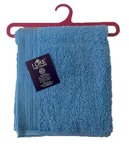 I LIKE Toalla con Percha 100% Algodón 380 g/m² Lavabo 50 x 90 cm - Color Azul