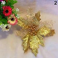 Derkoly--Hollow Glitter Poinsettia Fake Flower Christmas Tree Wedding Party Decoration - Golden