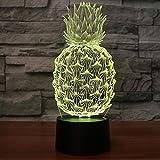YKMY Ananas Comosus 3D Illusion Lampe Veilleuse avec 7 Couleurs Clignotant Et...