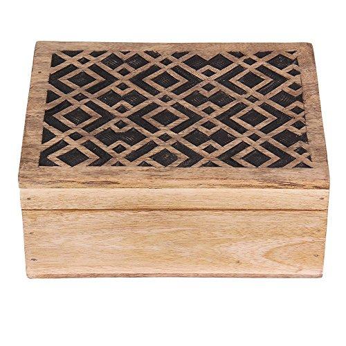 Shop Indya - Handgefertigte Holz Schmuckkästchen Keepsake Storage Organizer Mehrzweck-Box Schatztruhe Schmuckstück Halter für Frauen Männer Mädchen Handarbeit Geometrische Muster