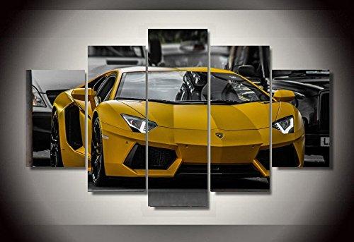 lamborghini-jaune-voiture-toile-decoration-5-pieces