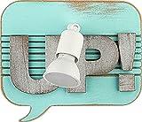 Wandlampe Holz Grau Weiß Türkis Buchstaben Schriftzug Design Modern Jugendzimmer Wohnzimmer