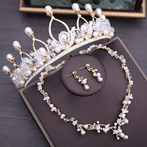 SSLL Schmuckset Kristall Perlen Brautschmuck Set Strass Halskette Ohrringe Tiara Krone Set Hochzeitsschmuck Sets