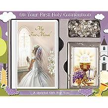 FHC C5188 - Set de Regalo para Primera comunión, diseño de Libro misal para niña