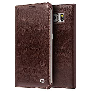 MTP Samsung Galaxy S6 G920 Qialino Etui Portefeuille en Cuir, Housse, Bookstyle Book Case, Cover - Marron