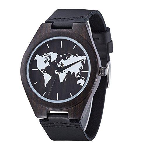 Holz Uhr Sentai Herren Weltkarte aus Holz Uhr Handgemachtes natürliches Ebenholz Armbanduhr Lederarmband Quarz-Armbanduhr schwarz