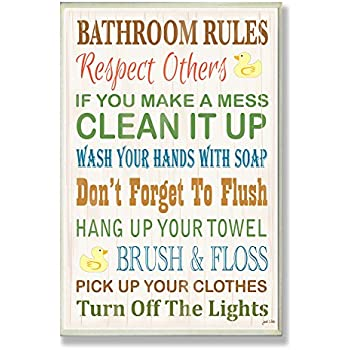 Stupell Home D Cor Bathroom Rules Typography Rubber Ducky Bathroom Wall Plaque 10 X 0 5 X 15