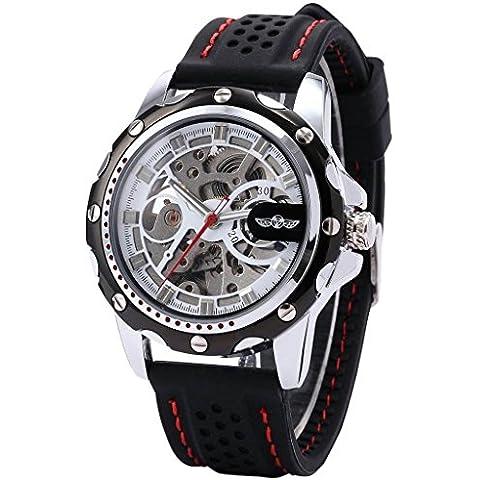 kimuk para hombre esqueleto automático mecánico negro banda de silicona deportivo reloj de