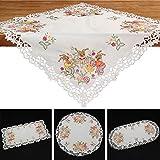 Quinnyshop Pâques Lapin Oeuf Broderie Nappe Chemin de Table env. 60 x 120 cm Rectangulaire Satin-Optik, Blanc