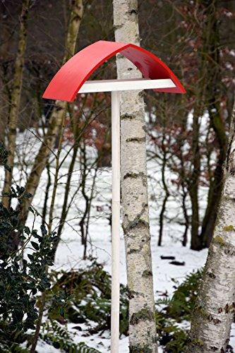 """Luxus-Vogelhaus 31022e Design-Vogelfutterhaus """"New Wave"""" in weiß mit rotem Dach inklusive Ständer (Gesamthöhe circa 183 cm) - 4"""