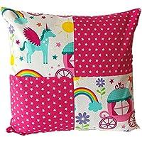 """TryPinky® Kissenbezug 40 X 40 cm """"Einhorn Kutsche Sterne Pink Weiß """" Sommer Frühling Kissenhülle 100 & Baumwolle BW"""