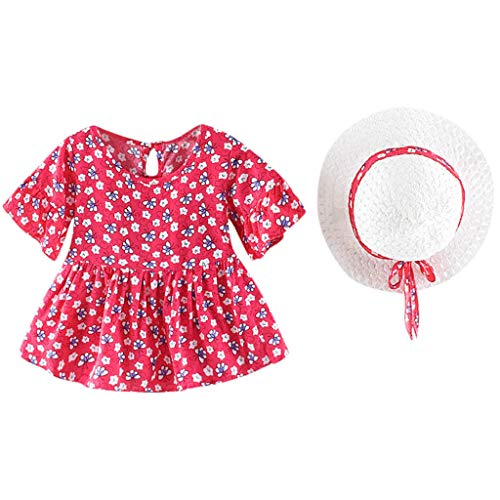 jerferr Baby Kleid Infant Flare Sleeve Flower Blumendruck Prinzessin Kleid + Hut Cap Outfits -