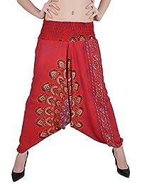 Rayon Rajsthani Mandala Hand Block Print Peacock Alibaba Afghani Trouser (Unisex) By Indi Bargain