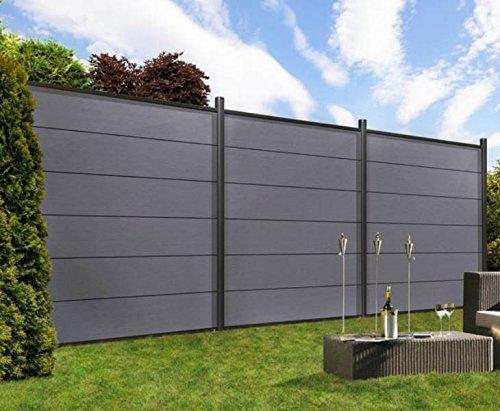 Sichtschutz System XL WPC anthrazit 178x183cm, Set mit Leisten anthrazit – Sichtschutzzäune Sichtschutzwand Gartensichtschutz Balkonsichtschutz Winschutz Sichtschutzwand für