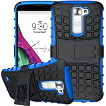 Nnopbeclik 2in1 Dual Layer Coque LG K7 Silicone [New] [Armor Séries] Protectrice Fine Et Élégante Rigide Back Cover Incassable case pour lg k7 case Silicone antichoc [X210] (5.0 Pouce) [Ridige] Protection Hybride en Mélange avec Béquille de Support Intégrée Housse Antiglisse Anti-Scratch Etui - [Bleu]