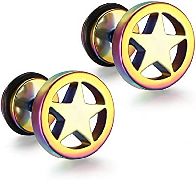 1par Estrella Fake Plug Unisex Pendientes Diámetro 9mm