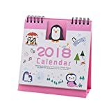 Cartoon Calendar , Hunpta 2018 Cute Cartoon Animal Desk Desktop Calendar Flip Stand Table Office Planner (B)