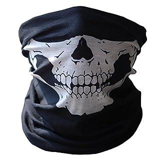 Elisona Skull Tubular Protective Dust Mask Bandana Motorcycle Polyester Scarf Face Neck Warmer for Snowboard Skiing Motorcycle Biking