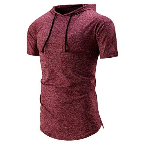 Malloom Männer Kapuzenoberteilhemd-dünnes kurzes Hülsen-beiläufiges T-Shirt (M, Rot) (Mädchen Dart Nike)