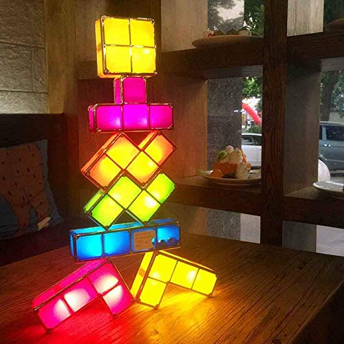 Mnjin Kinder Lichter Tetris Lampe, 7 Farben stapelbar Puzzles DIY Tetris Nachtlicht 7 Stück LED Induktions-Locking-Lampe 3D-Spielzeug Heimtextilien